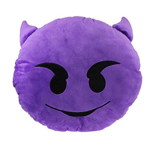 Ukamshop niedlich emoji smiley Kissen Weichen Cartoon gelb Kissen Spielzeug (Smiley Dämon)