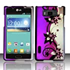 LG Optimus Showtime L86C Case (Straight Talk / Net10 / US Cellular) Vibrant Flower Design Hard Cover Protector with Free Car Charger + Gift Box By Tech Accessories
