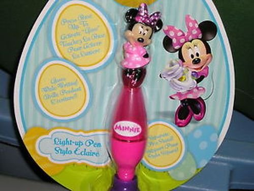 disney minnie mouse light up pen & stand glows while writing new/box