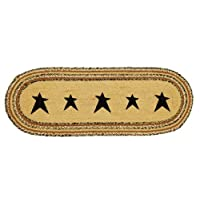 Country Style Black, Charcoal, Light Tan Jute Runner Stencil Star 13x36