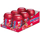 Mentos Gum Squeez Strawberry with Fruit Filling, Sugar Free, 6 Cans of 30 Chewing Gums