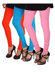 ITNOL Cotton Lycra Leggings (Pack Of 3 ): Orange / Blue / Baby Pink