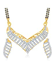 MEENAZ FABULOUS CZ GOLD AND RHODIUM PLATED MANGALSUTRA SET