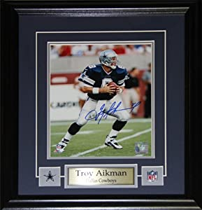 Troy Aikman Dallas Cowboys Signed 8x10 Frame by Midway Memorabilia