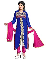 ZHot Fashion Women's Embroidered Un-stitched Dress Material In Georgette Fabric (ZH1009) Blue