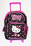 Small Size Black and Pink Hello Kitty Rolling Backpack - Hello Kitty Kids Luggage with Wheels