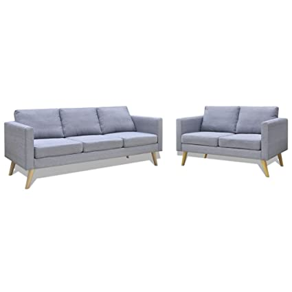 Set de un canapé 2 places + un canapé 3 places gris clair