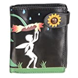 New Woman's Black Sunflower And Tinker Bell Small Wallet By Shagwear