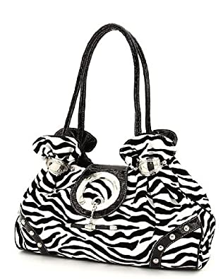 White & Black Zebra Faux Leather & Velvet Toggle Large Hobo Purse