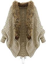 SODIAL(R) Hiver Femme Lache Col en fourrure Pull manches chauve-souris Cardigan en tricot Manteau