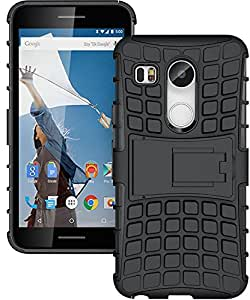 LG Nexus 5X Back Cover, IDEAL Hybrid Rubberized Shell Shock Proof Skidproof Impact Resistant Hard Shell with Flip Kickstand Rugged Back Cover for LG Nexus 5X (Black)