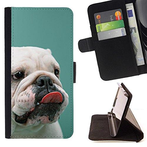 All Phone Most Case / Cellulare Smartphone cassa del cuoio della calotta di protezione di caso Custodia protettiva per APPLE IPHONE 7 Apple iPhone7 // English Bulldog Puppy Teal White Dog