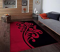 T1012 Red Black White 5\'2 x 7\'2 Floral Oriental Area Rug Carpet