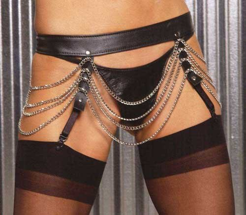 Leather Garter Belt with Chain detail in One Size, Queen Plus Size