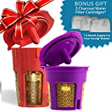MaxBrew 24K GOLD Keurig Accessories (1) Single K-Cup Reusable (1) K-Carafe Reusable (3) Premium Water Filters for Keurig 2.0 - The Ultimate Accessory Pack
