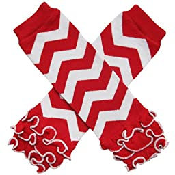Christmas Holiday Winter Party Styles Leg Warmers - One Size - Baby, Toddler, Girl, Boy (Ruffle Bottom Chevron Red & White)