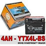 Motorradbatterie Roller Batterie 4Ah AGM Gel YTX4L-BS 50314