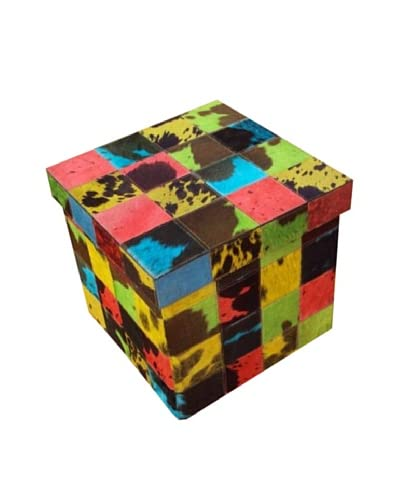 Design Accents Collapsible Box with Cowhide Squares, Multi, 17 As You See
