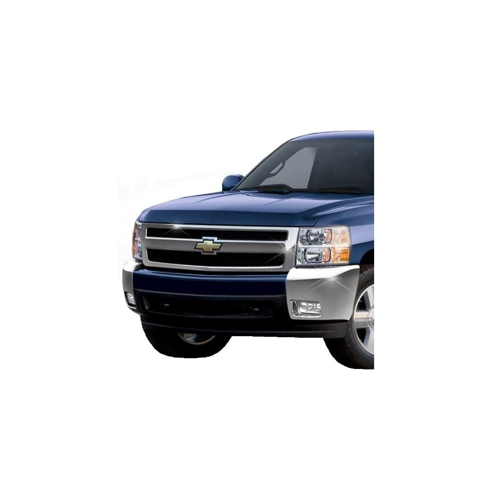 07 11 CHEVY SILVERADO 1500 FRONT BUMPER CHROME COVER CAPS