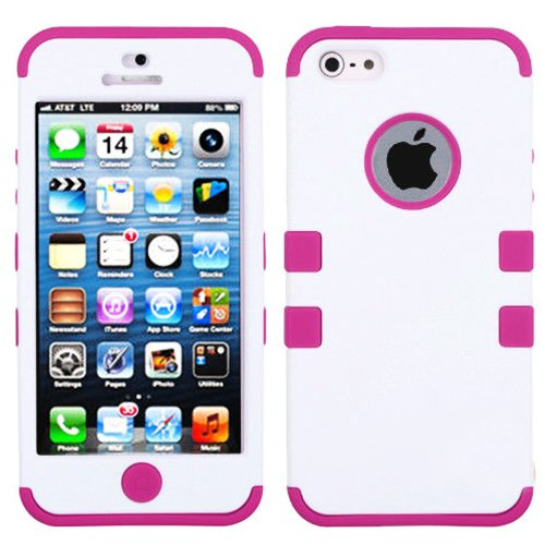 Mylife (Tm) Hot Pink And White - Colorful Robot Series (Neo Hypergrip Flex Gel) 3 Piece Case For Iphone 5/5S (5G) 5Th Generation Itouch Smartphone By Apple (External 2 Piece Fitted On Hard Rubberized Plates + Internal Soft Silicone Easy Grip Bumper Gel +