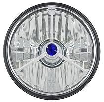 "Adjure T50300 5-3/4"" Diamond Cut Trillient Blue Dot Tri-Bar Motorcycle Headlight with H4 Bulb"