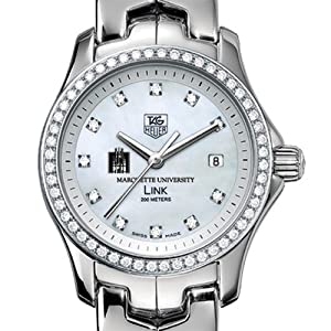 Marquette University TAG Heuer Watch - Women's Link Watch with Diamond Bezel