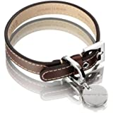 Hennessy & Sons Hand Made Royal British Saddle Leather Dog Collar with White Stitching, 29 - 35 x 1.8 x 0.3 cm, 60 g, Chocolate Brown