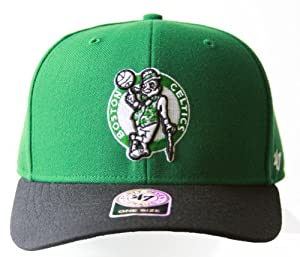 NBA 47 Brand Boston Celtics 2 Tone Velcro Adjustable Hat + GT Sweat Wristband- Green... by