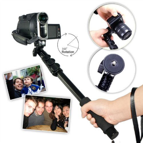 First2Savvv Zp-188A01 Black Self-Portrait Extendable Telescopic Handheld Pole Arm Monopod Camcorder/Camera/Mobile Phone Tripod Mount Adapter Bundle For Sony Hdr-Pj260Ve