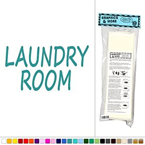 Laundry Room - Washer Dryer - Vinyl Sticker Decal Wall Art Decor - Teal