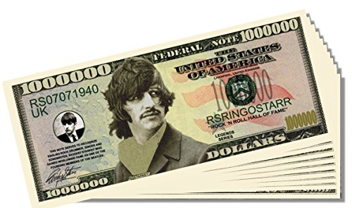 Beatles Ringo Starr Novelty Million Dollar Bill - 25 Count with Bonus Clear Protector & Christopher Columbus Bill - 1