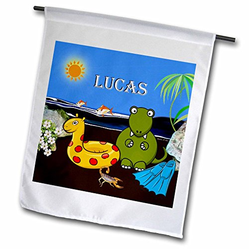SmudgeArt Male Child Name Design - Lucas - Tyrannosaurus Rex at the Beach - 18 x 27 inch Garden Flag (fl_50070_2)