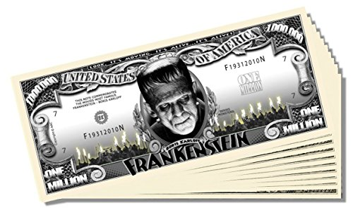 Frankenstein Million Dollar Bill - 10 Count with Bonus Clear Protector & Christopher Columbus Bill