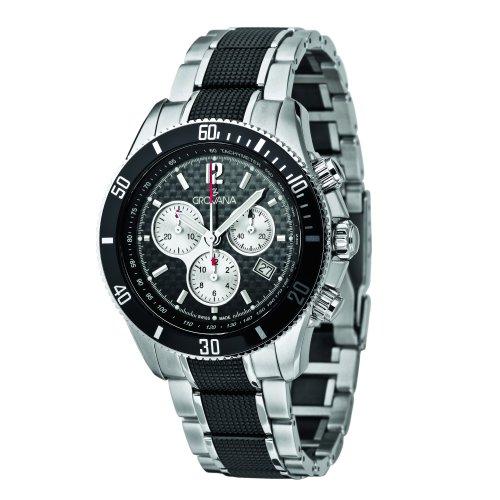 Grovana 1615.9177 - Reloj cronógrafo de cuarzo para hombre con correa de acero inoxidable, color plateado