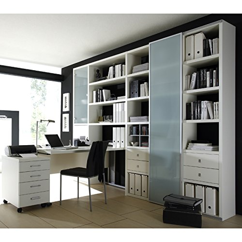 wohnwand b cherregal mit schreibtisch sideboard toleo238 lack wei. Black Bedroom Furniture Sets. Home Design Ideas