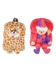 Katwalk Kids Toy Bag Synthetic 32 Cms Strawberry And Gold & White Soft Sided Children'S Luggage(Pack Of 2)