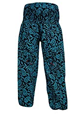 Indiatrendzs Women Pant Paisley Print Cotton Blue Evening Wear Yoga Pants