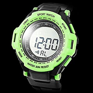 Unisex Heart Rate Monitor Rubber Digital Automatic Wrist Watch with Chest Band (Assorted Colors) ( Color : Green )