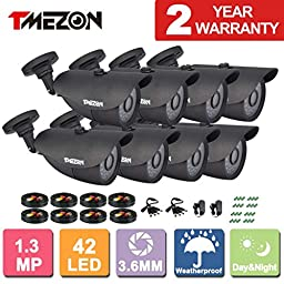 TMEZON 8 Pack Over Analog HD AHD 720P 1.3MP CCTV Security Indoor/Outdoor 1500TVL Bullet Security Camera 3.6mm 42 IR LEDs Work only with AHD DVR Power Adapter