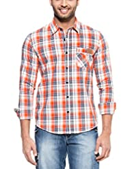 Zovi Men's Cotton Slim Fit Casual Black White And Orange Checkered Shirt (11563500701)
