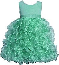 Little Girls Mint-Green Shimmer Knit to Cascade Organza Dress