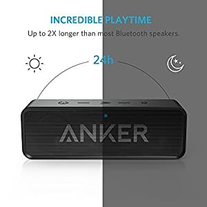 Anker SoundCore Dual-Driver Bluetooth Speaker with 24-Hour Playtime, 66-Foot Bluetooth Range, with Low Harmonic Distortion and Superior Sound - Black