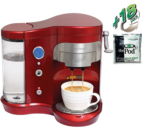 SunCafe Coffee Pod Brewer H701A - Red (includes 18 World Blend Regular Pods)