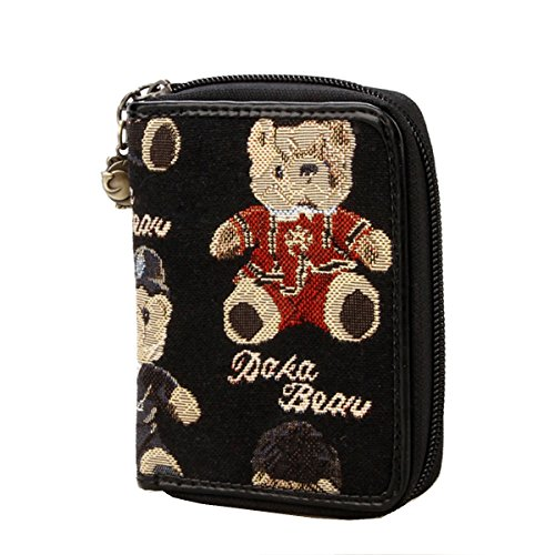 Daka Bear Jazz Bear Black Mini Wallet Purse Small Case Zip Clutch