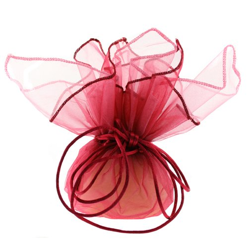 10 Designer Organza Fabric Drawstring Gift Bags Pouches Party Favor Gifts Packaging Burgundy Rose Medium Size