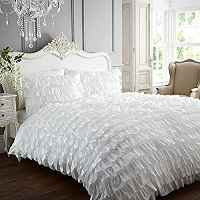 Flamenco Can Can Frilled Designer Double Duvet Quilt Cover Bedding Set - White