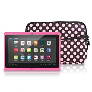 "Chromo Inc® 7"" Android 4.1 Capacitive 5 Point Multi-Touch Screen Tablet with Neoprene Case - Pink {New Model September 2013}"