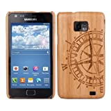 Kwmobile Natural bamboo case for the Samsung Galaxy S2 i9100 / S2 PLUS i9105 Compass design in Brown