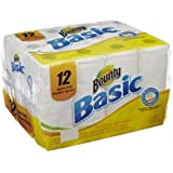 """Bounty PAG84676 Basic Paper Towel, 11"""" Length x 11"""" Width, White (Pack of 12)"""