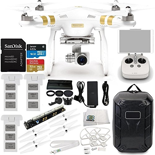DJI Phantom 3 Professional Quadcopter w/ 4K Camera, 3-Axis Gimbal & Manufacturer Accessories + 2 DJI Flight Batteries + Multi Battery Charging Board + Water-Resistant Hardshell Backpack + MORE